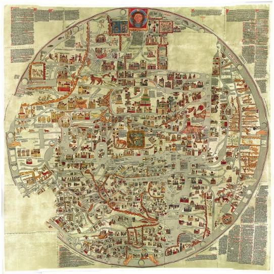 1234 m. Ebstorfo pasaulio žemėlapio XIX a. reprodukcija