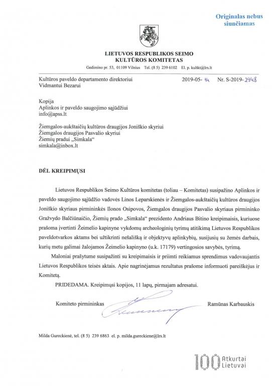 LR Seimo Kultūros komiteto atsakymas