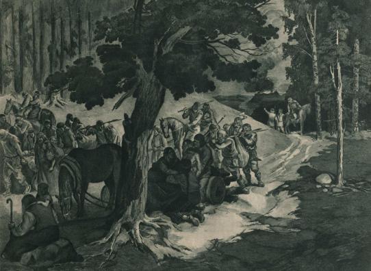 Žiemgaliai palieka Tervetę. Dailininkas Karlis Krauze, 1932 (?) m.