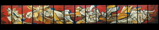 MEDŽIOTOJAS. Audronė Mickutė, 1985 m., plonas spalvotas stiklas, jungtas švinu, formatas: 73 x 556 cm