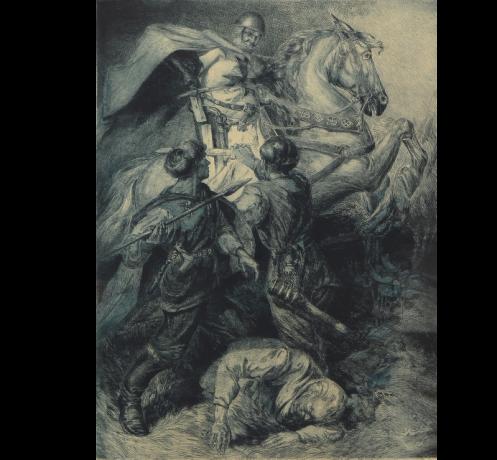 Kova su kryžiuočiais. Dailininkas Modestas Kuzminas, 1938 m.