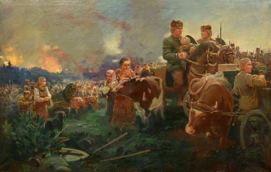 Žiemgaliai palieka Sidabrę. Dailininkas Voldemaras Vimba, 1937 (?) m.