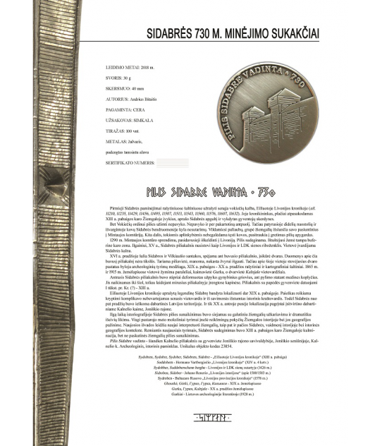 Pilis Sidabre vadinta - 730 sertifikatas