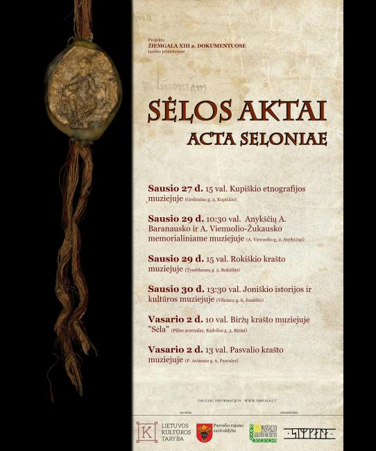 Sėlos aktų pristatymo renginių afiša