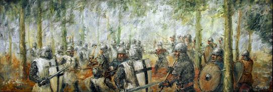 Garuozos mūšis. Dailininkas Artūras Slapšys, 2014 m.