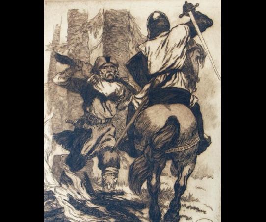 Žiemgalos viršaičio Viestarto kova su Kalavijuočių ordino riteriu Markvartu. Dailininkas Rihards Zarinš, 1920 m.