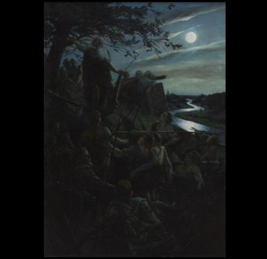"""Artūras baumanis. """"Žiemgalių dvasios"""" (Kariai mėnesienoje), 1896 m."""